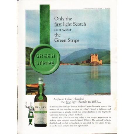 "1962 Usher's Scotch Ad ""Green Stripe"""