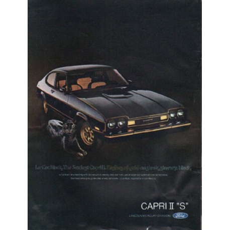 "1976 Ford Capri Ad ""Le Cat Black"" ~ (model year 1976)"