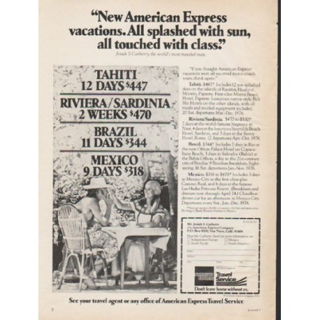 """1976 American Express Ad """"All splashed with sun"""""""