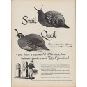 "1950 Ethyl Gasoline Ad ""difference ... between a ""snail"" and a ""quail"""""