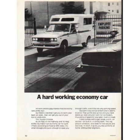 "1976 Toyota Ad ""A hard working economy car"" ~ (model year 1976)"