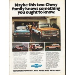 "1976 Chevy Trucks Ad ""two-Chevy family"" ~ (model year 1976)"