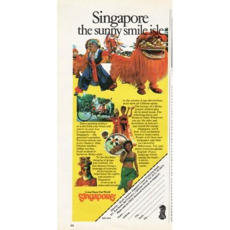 "1976 Singapore Travel Ad ""the sunny smile isle"""