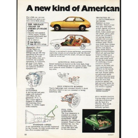 """1976 Chevrolet Chevette Ad """"new kind of American car"""" ~ (model year 1976)"""