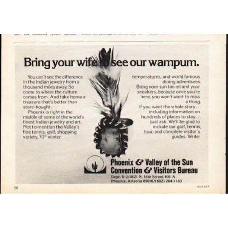 "1976 Phoenix Travel Ad ""Bring your wife"""