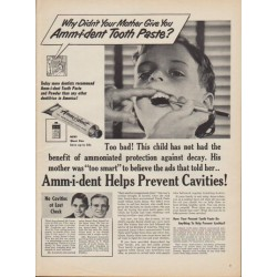 "1950 Amm-i-dent Tooth Paste Ad ""Why Didn't Your Mother Give You Amm-i-dent?"""