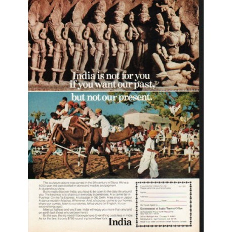 "1976 India Travel Ad ""India is not for you"""