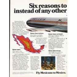 "1976 Mexicana Airlines Ad ""Six reasons"""