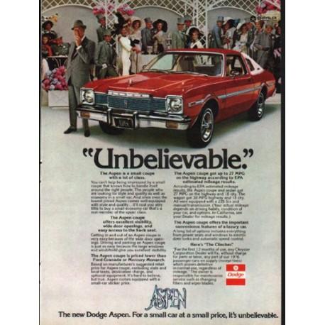 "1976 Dodge Aspen Ad ""Unbelievable"" ~ (model year 1976)"