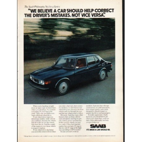 "1976 Saab Ad ""a car should help correct"" ~ (model year 1976)"