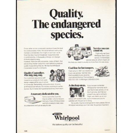 "1976 Whirlpool Appliances Ad ""Quality"""