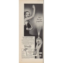 """1950 Stopette Spray Deodorant Ad """"Poof! there goes perspiration"""""""