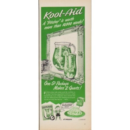 "1950 Kool-Aid Ad ""A ""Pitcher"" is worth more than 10,000 words!"""
