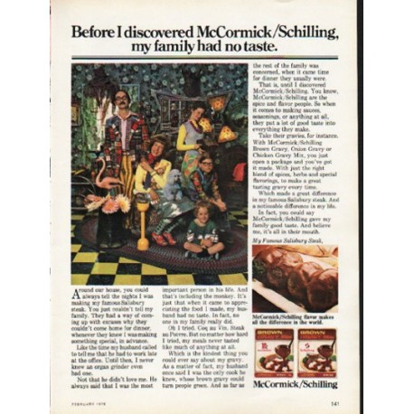 "1976 McCormick/Schilling Ad ""my family had no taste"""