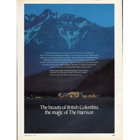 "1976 Harrison Hot Springs Ad ""The beauty of British Columbia"""