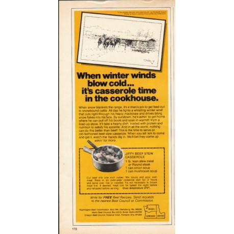 """1976 Beef Council Ad """"winter winds"""""""