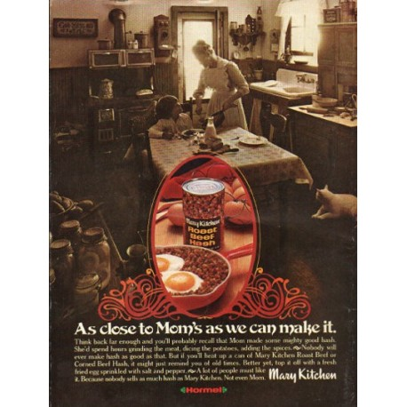"1976 Mary Kitchen Ad ""As close to Mom's"""
