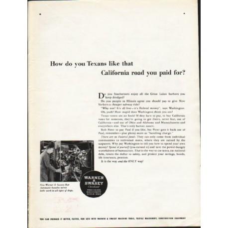"1962 Warner & Swasey Ad ""you Texans"""