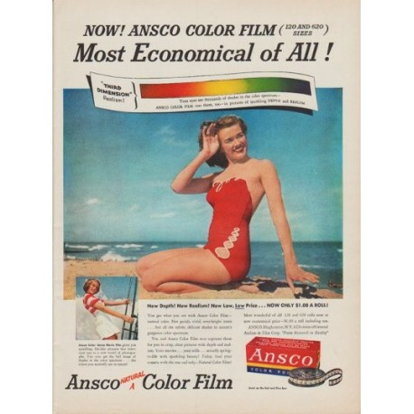 "1950 Ansco Color Film Ad ""Most Economical of All!"""