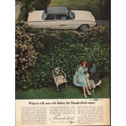 "1963 Ford Thunderbird Ad ""What to tell your wife"" ~ (model year 1963)"
