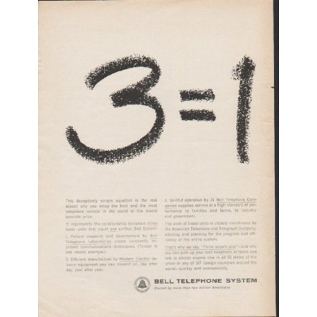"1962 Bell Telephone System Ad ""3 equals 1"""