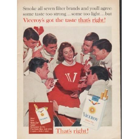 "1962 Viceroy Cigarettes Ad ""Smoke all seven"""