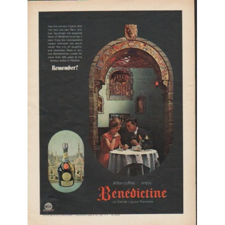 "1962 Benedictine Liqueur Ad ""After coffee"""