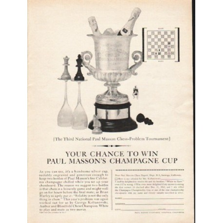 """1962 Paul Masson Ad """"Your chance"""""""