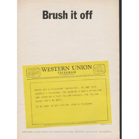 "1962 Western Union Ad ""Brush it off"""