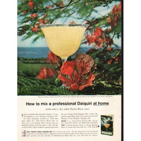 """1962 Puerto Rican Rum Ad """"a professional Daiquiri"""""""