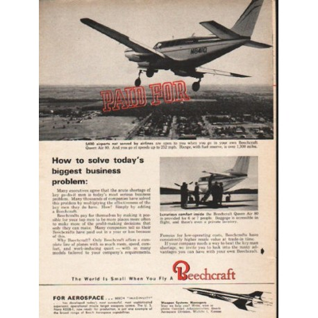 """1962 Beechcraft Ad """"Paid For"""""""