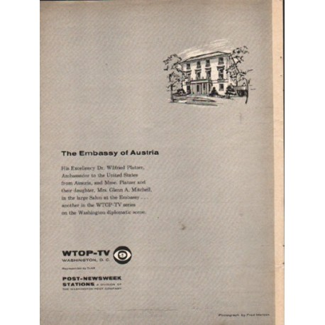 """1962 The Embassy of Austria Ad """"His Excellency"""""""