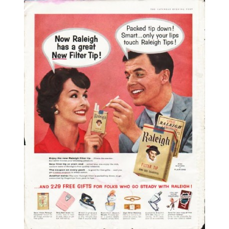 """1958 Raleigh Cigarettes Ad """"great New Filter Tip"""""""