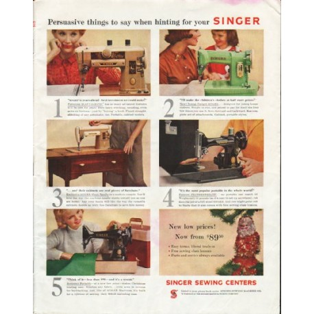"1958 Singer Sewing Machine Ad ""Persuasive things"""