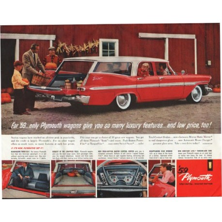 "1959 Plymouth Ad ""Plymouth wagons"" ~ (model year 1959)"