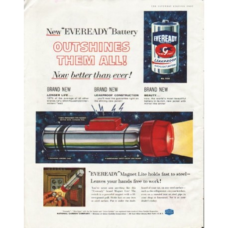 """1958 Eveready Battery Ad """"Outshines Them All"""""""