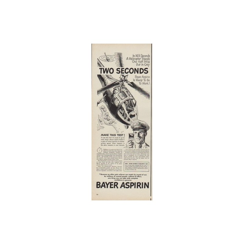 1950 Bayer Aspirin Ad Quot Two Seconds Quot