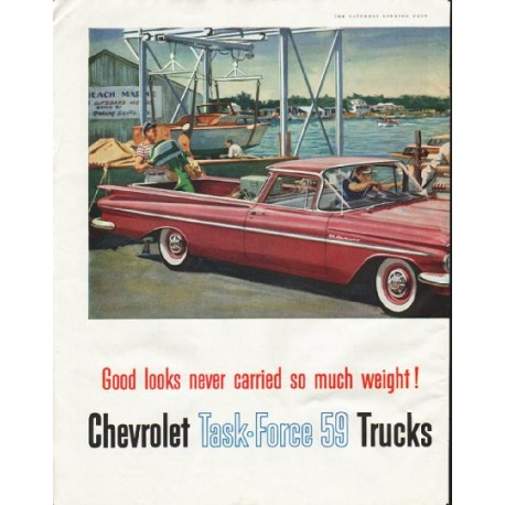 "1959 Chevrolet Ad ""so much weight"" ~ (model year 1959)"