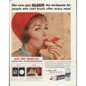 "1958 Gleem Toothpaste Ad ""She uses only Gleem"""