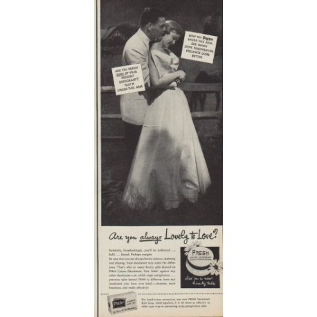 """1950 Fresh Deodorant Bath Soap Ad """"Are you always Lovely to Love?"""""""