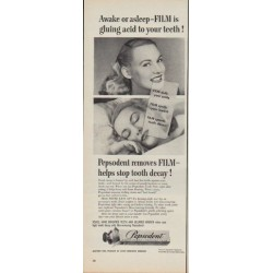 "1950 Pepsodent Tooth Paste Ad ""Awake or asleep -- gluing acid to your teeth !"""