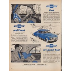 "1950 Chevrolet Ad ""First and Finest at Lowest Cost"""