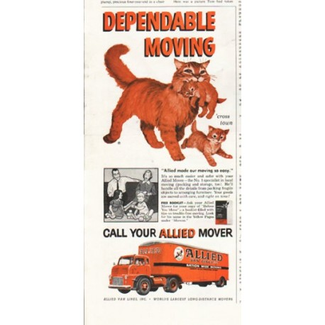"""1958 Allied Van Lines Ad """"Dependable Moving"""""""