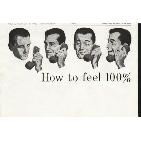 "1958 Bell Telephone System Ad ""feel 100% better"""