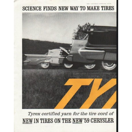 """1958 Tyrex Ad """"new way to make tires"""""""