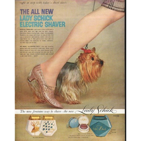 "1958 Lady Schick Ad ""right in step"""