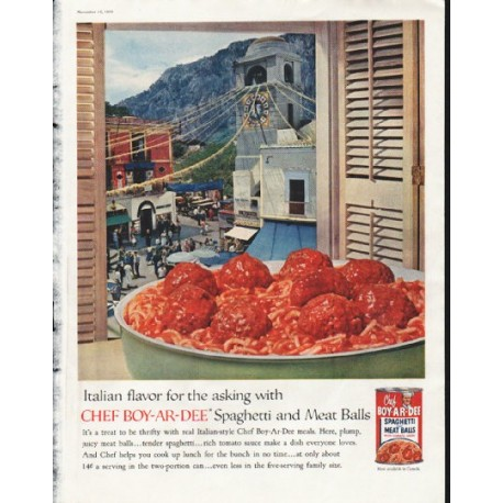 "1958 Chef-Boy-Ar-Dee Ad ""Italian flavor"""
