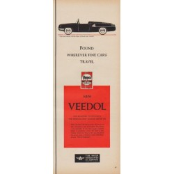 "1950 Veedol Motor Oil Ad ""Found Wherever Fine Cars Travel"""