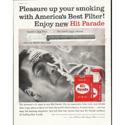 "1958 Hit Parade Cigarettes Ad ""Pleasure up your smoking"""