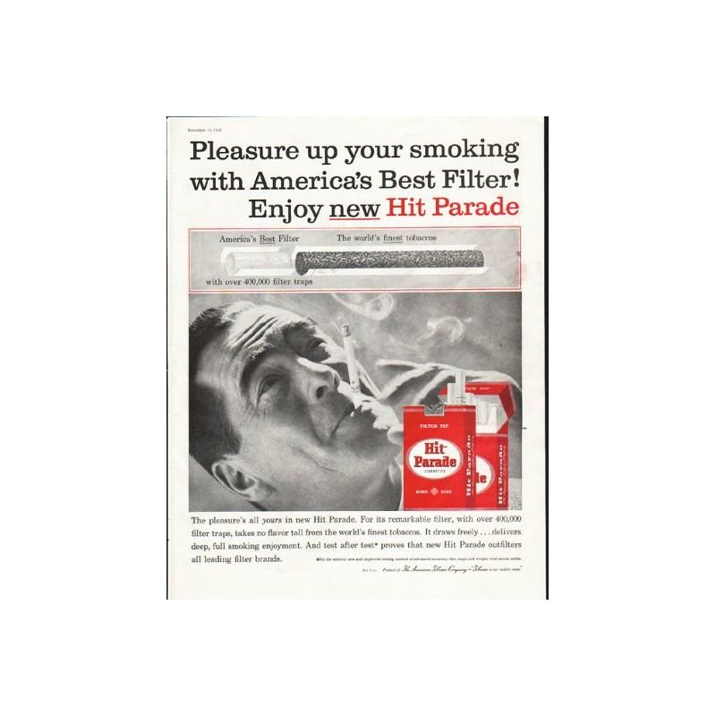 1958 Hit Parade Cigarettes Vintage Ad Quot Pleasure Up Your